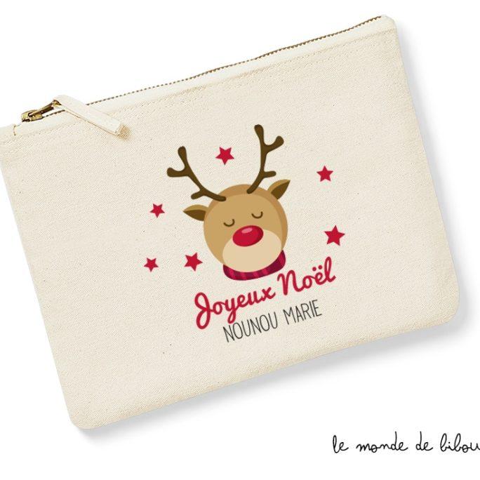 Pochette trousse personnalisable thème renne de Noël le Monde de Bibou