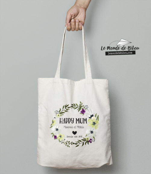 sac tote bag happy mum personnalisable couronne de fleurs