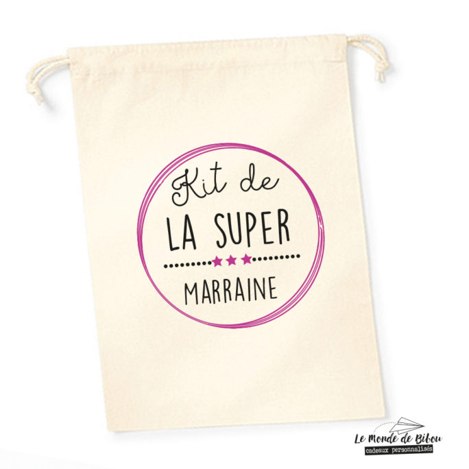 Sac pochon Kit de la Super Marraine