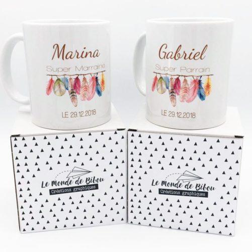 Cadeaux parrain marraine, duo de mugs personnalisés pour Baptême, communion