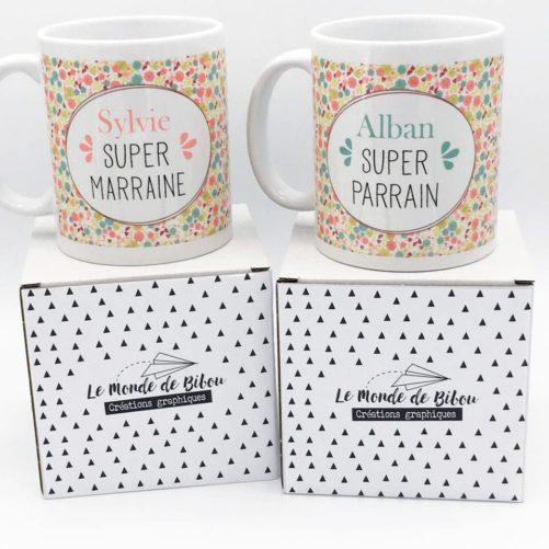 Cadeaux parrain marraine, duo de mugs liberty personnalisés pour Baptême, communion