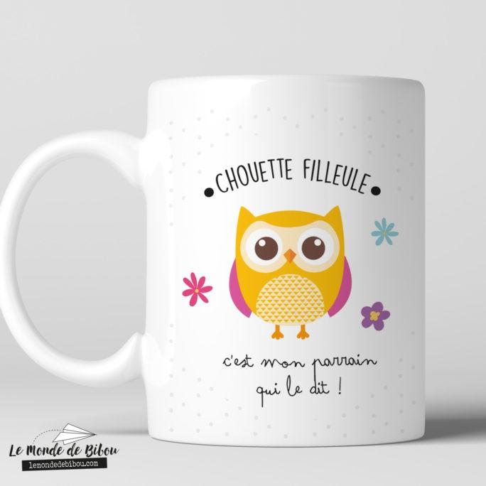 Cadeaux filleule, mug chouette personnalisé
