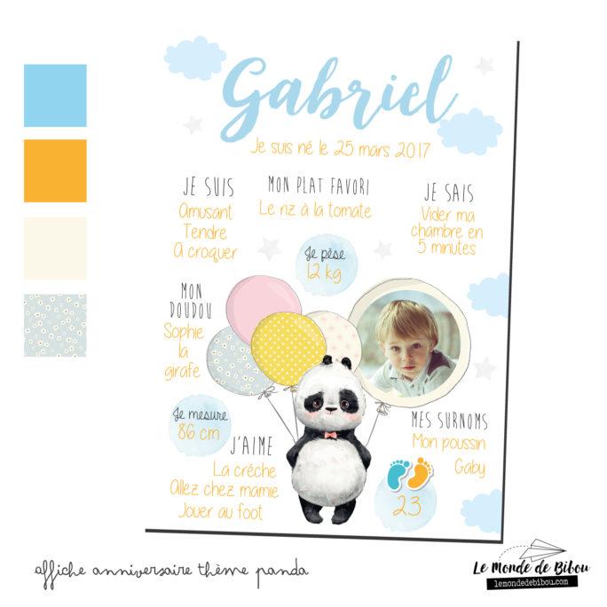 Affiche anniversaire Thème Panda