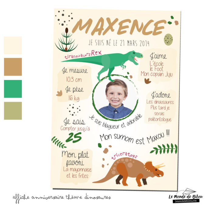 Affiche anniversaire personnalisée thème dinosaures