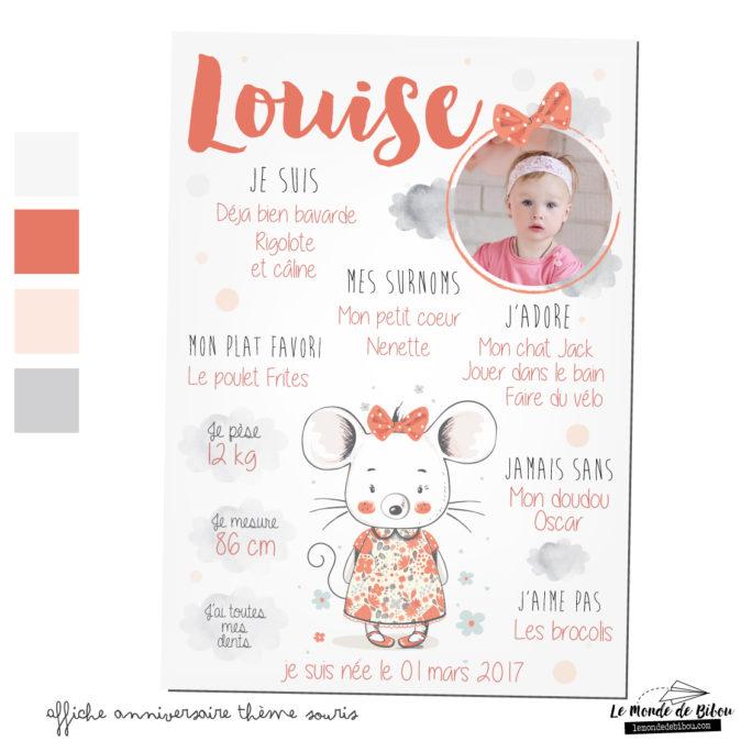 Affiche anniversaire personnalisée thème souris