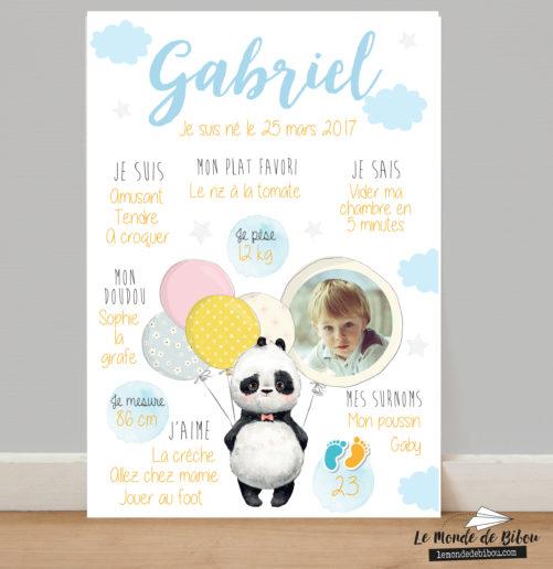 Affiche anniversaire personnalisée Thème Panda