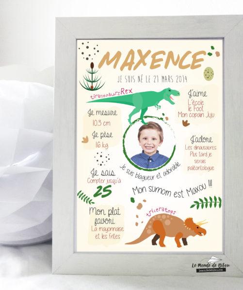 Affiche personnalisée anniversaire thème dinosaures