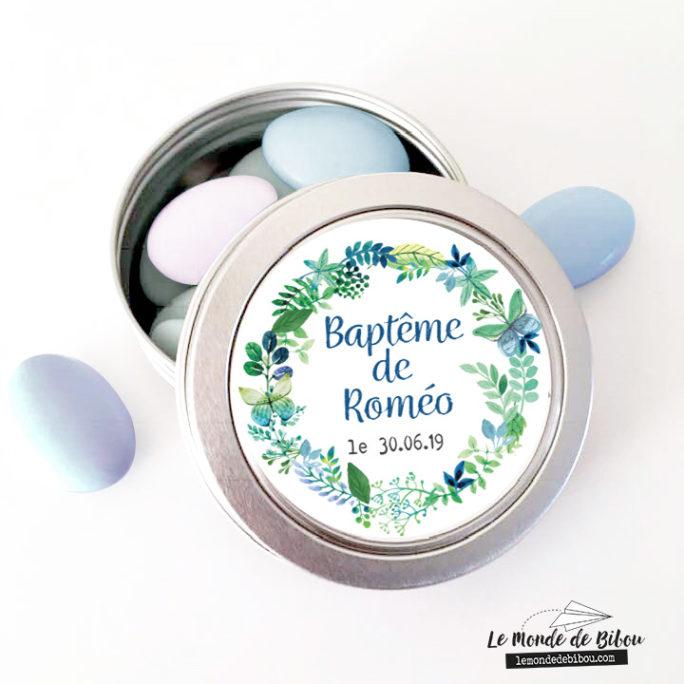Boîte à dragées Couronne de fleurs bleues