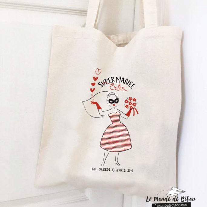 Tote Bag Super Mariée – thème Super Héros