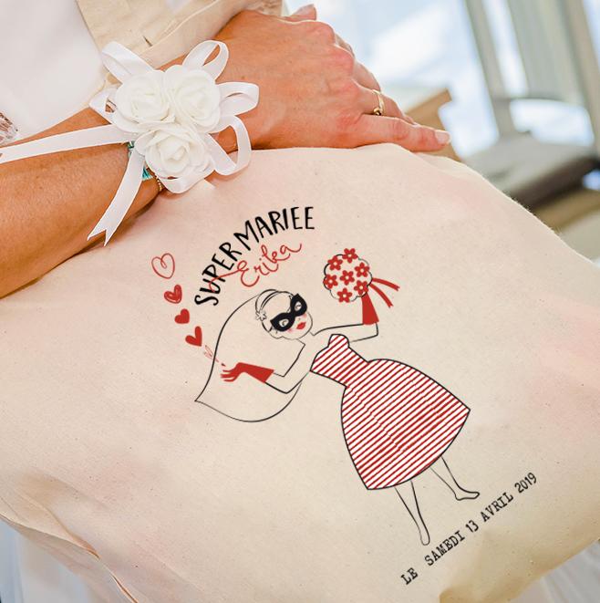 Sac tote bag personnalisable super mariée