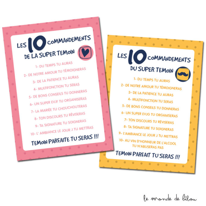 Cartes les 10 commandements témoins de mariage