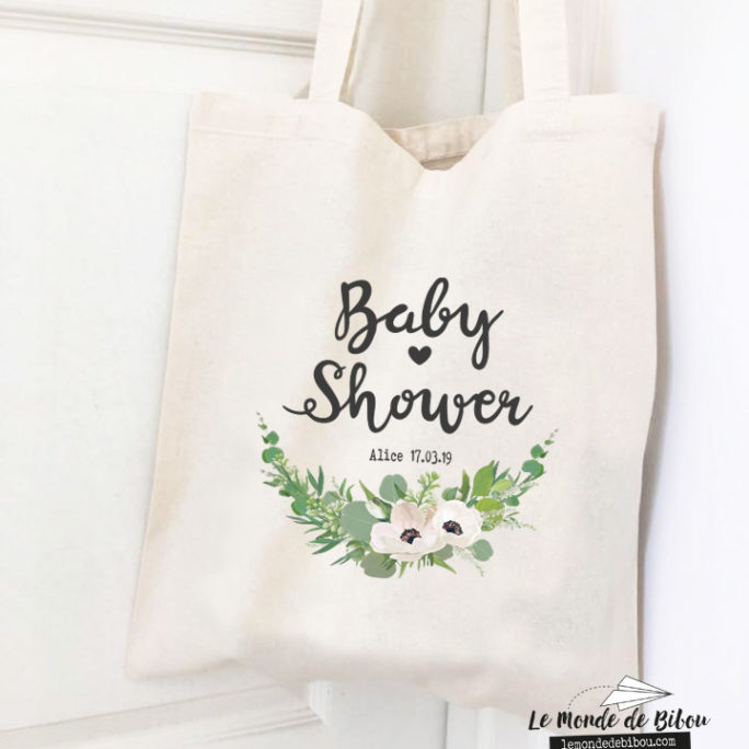 Tote bag personnalisé cadeaux souvenir Baby Shower