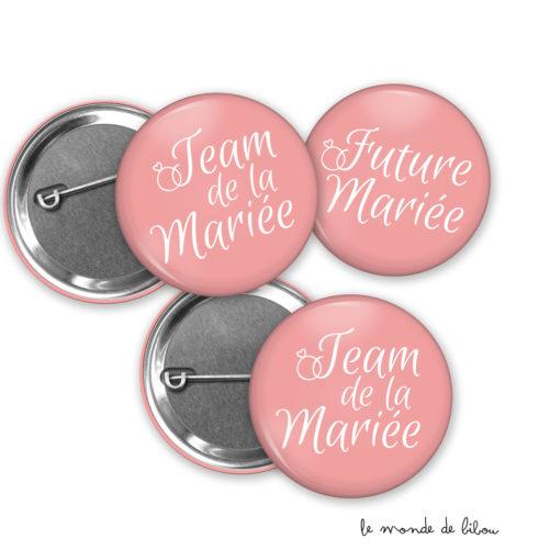 Lot de 10 badges team de la mariée et badge future mariée