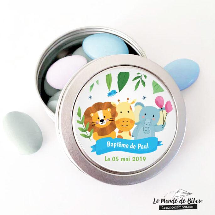 Boîte dragées thème Animaux de la Jungle
