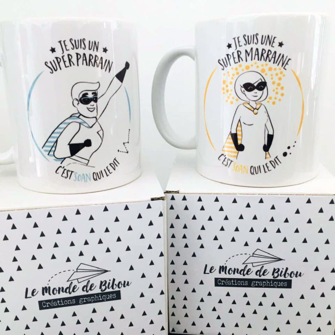 Duo Mugs Parrain Marraine Super héros