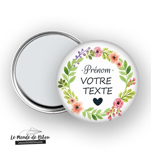 Miroir personnalisé thème couronne de fleurs
