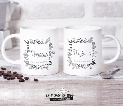 Duo de Mugs Mariage Floral