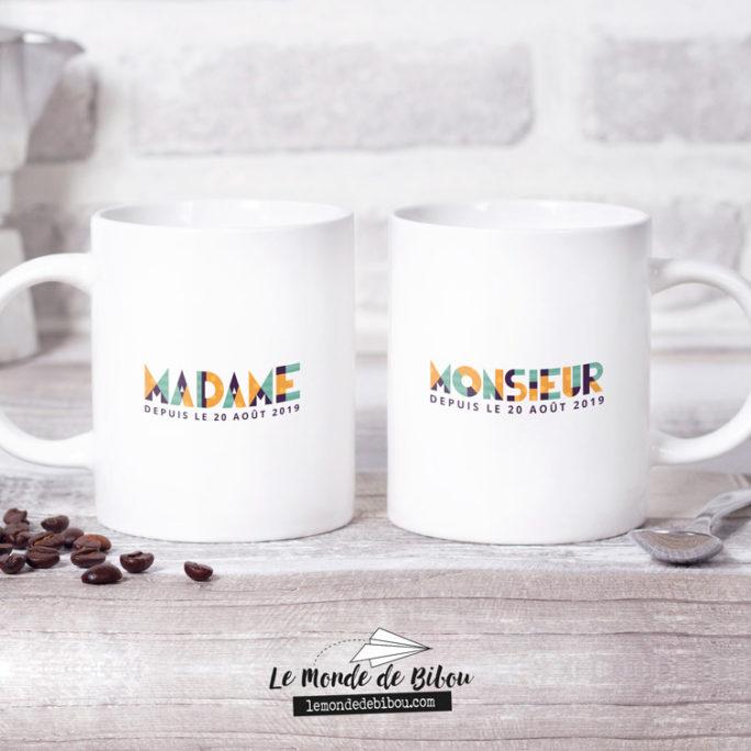 Duo de Mugs mariage thème Géométrique
