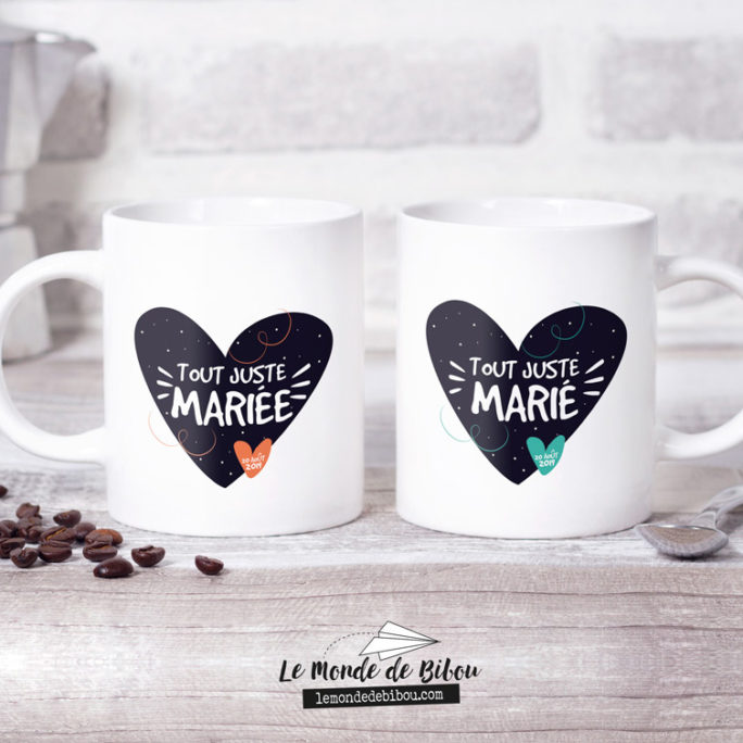 Duo de Mugs Mariage Tout juste Mariés