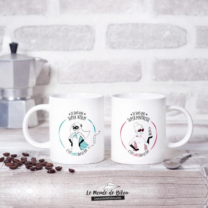 Duo Mugs thème Super Maîtresse/Atsem
