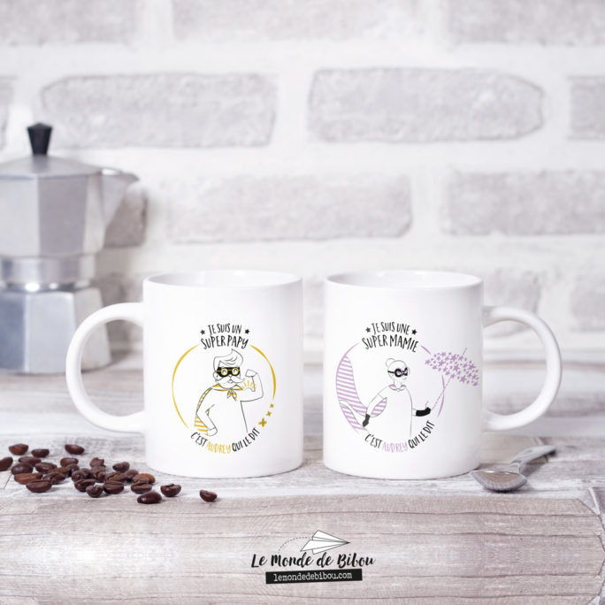 Duo Mugs Papy Mamie Super héros