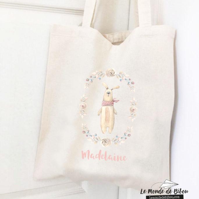 Sac tote bag thème Lapin frimousse