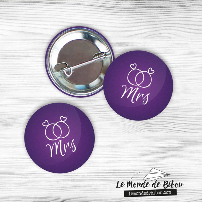 Lot de 2 badges badge future mariée LGBT