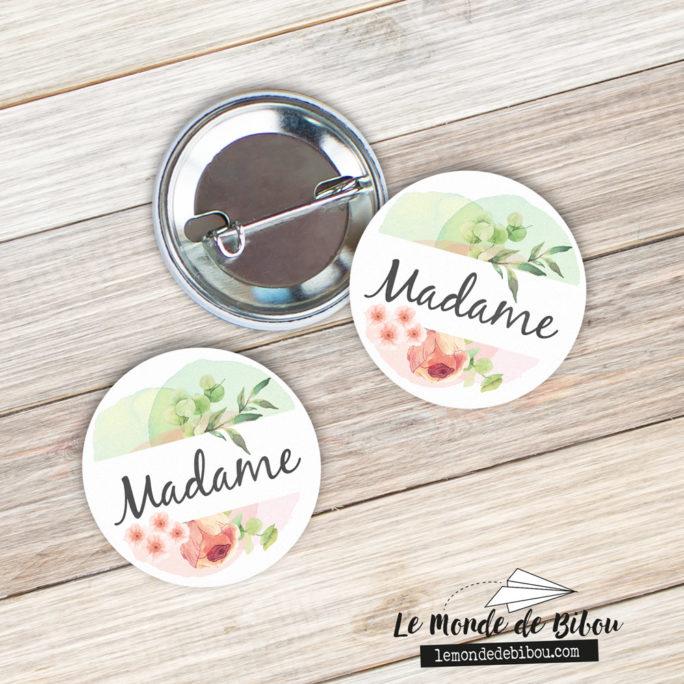 Badges MARIAGE LGBT Madame