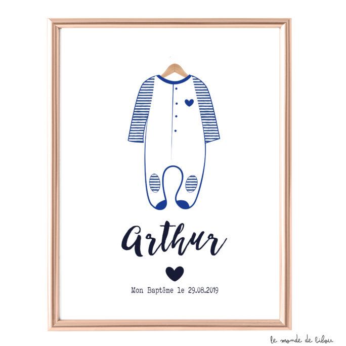 Affiche Baptême Pyjama style rétro