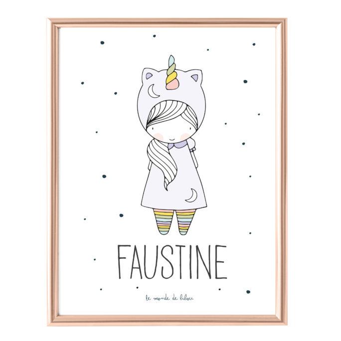 Affiche Prénom Petite Licorne