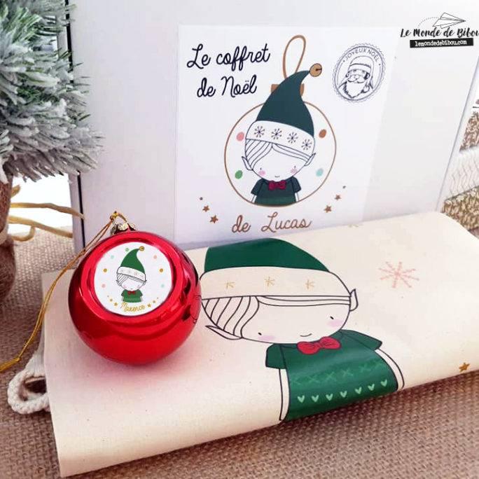 Coffret Hotte et Boule de Noël Lutin