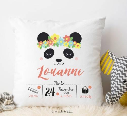 Coussin de naissance personnalisable Panda