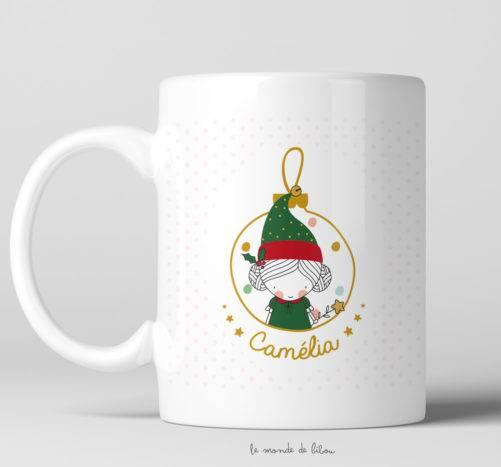 Tasse incassable Fillette Lutin de Noël