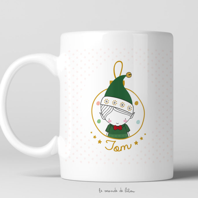 Tasse incassable Garçon Lutin de Noël