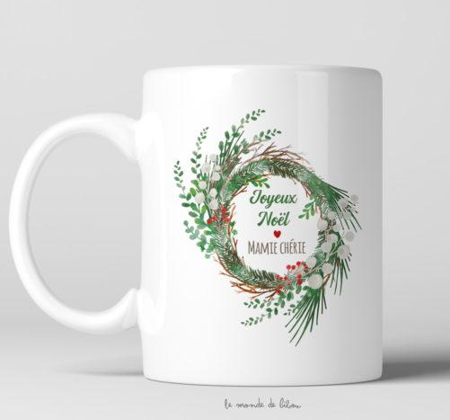 Mug cadeau Couronne de Noël
