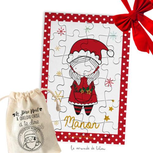 Puzzle Noël Fillette Père Noël