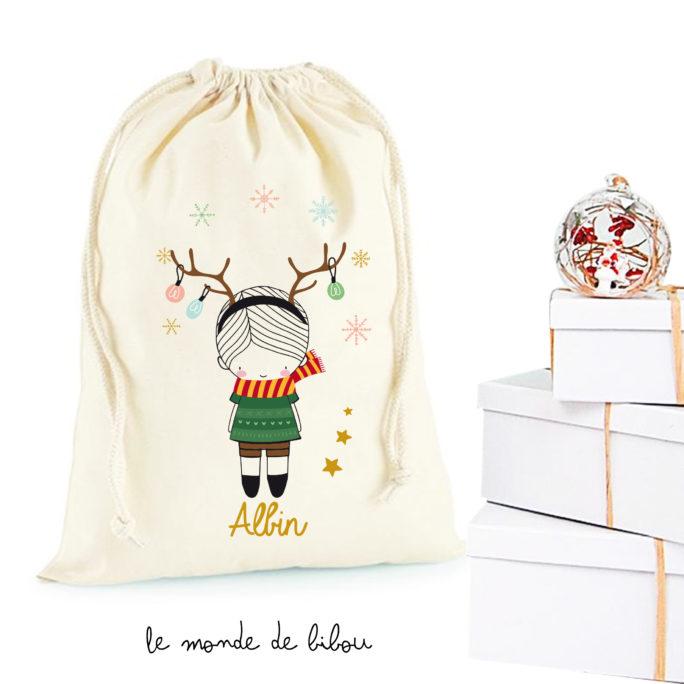 Hotte de Noël Garçon Cerf de Noël