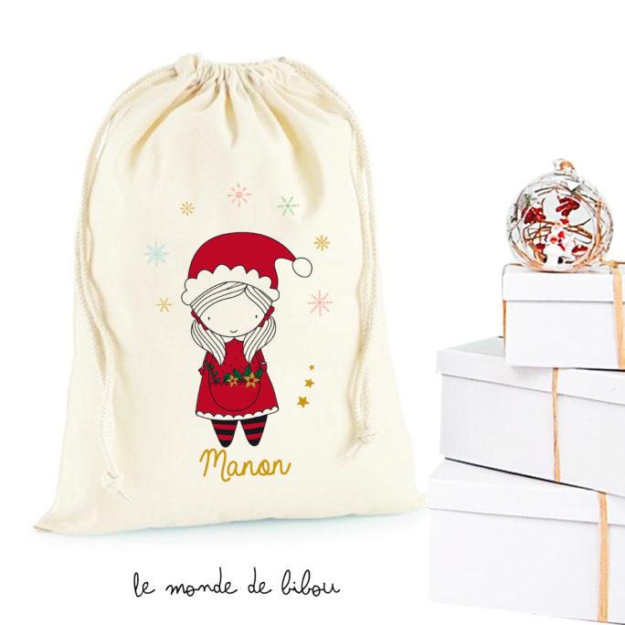 Hotte de Noël Fillette Père Noël