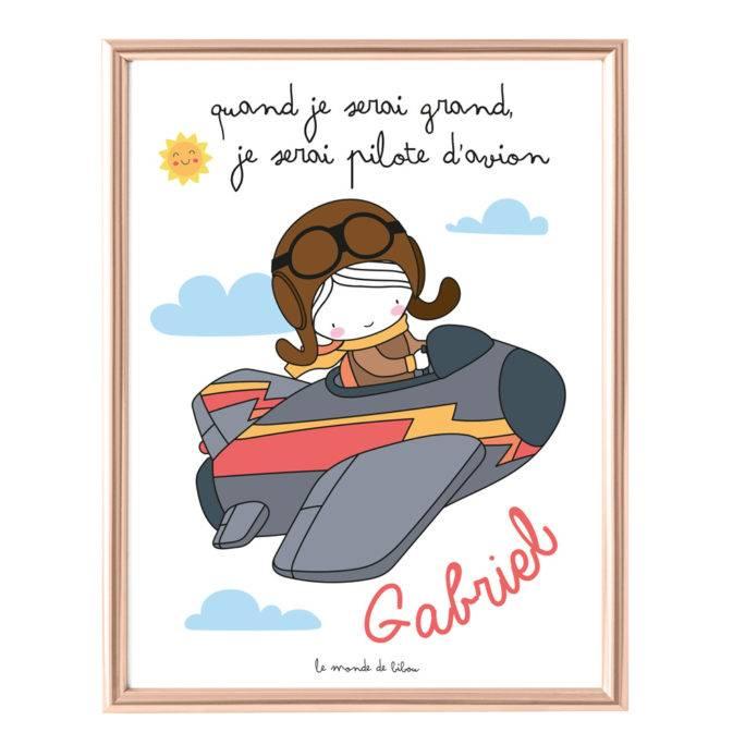 Affiche Prénom Pilote d'avion