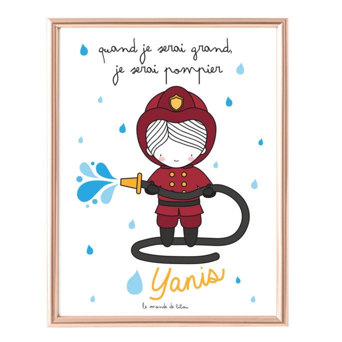 Affiche Prénom Pompier