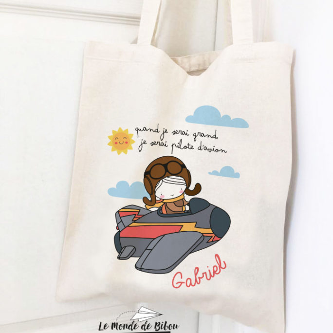 Tote bag enfant Pilote d'avion