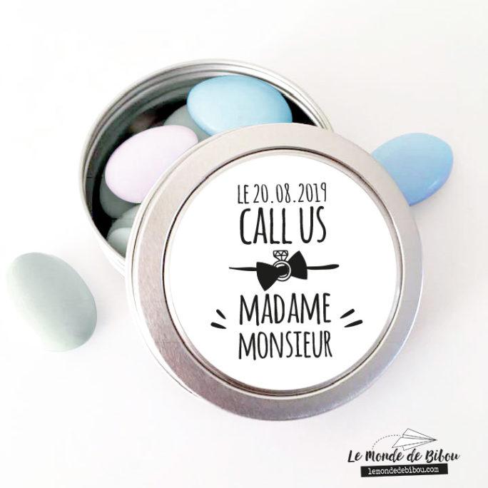 Boîte à dragées Mariage Call us Madame Monsieur