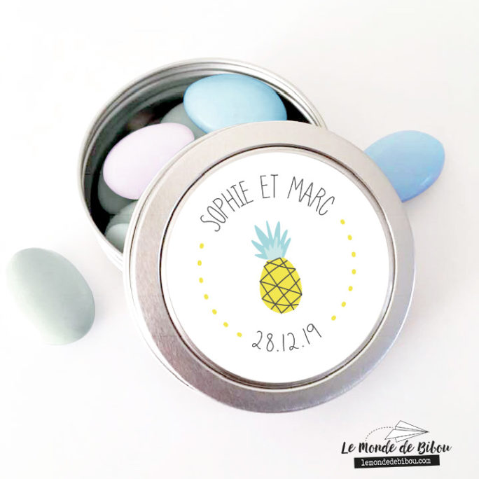 Boîte à dragées Mariage Ananas