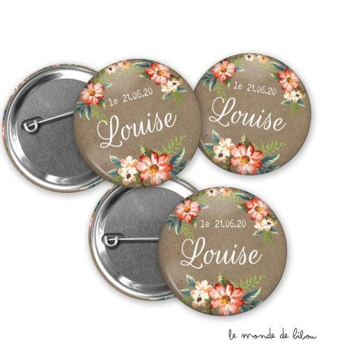 Lot de 12 Badges thème fleurs