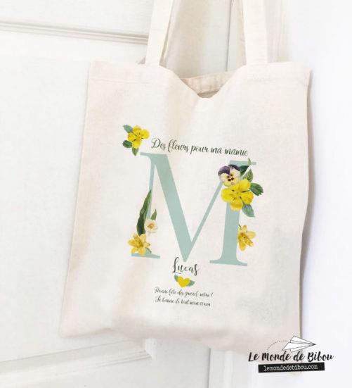 Tote bag des fleurs pour ma Mamie