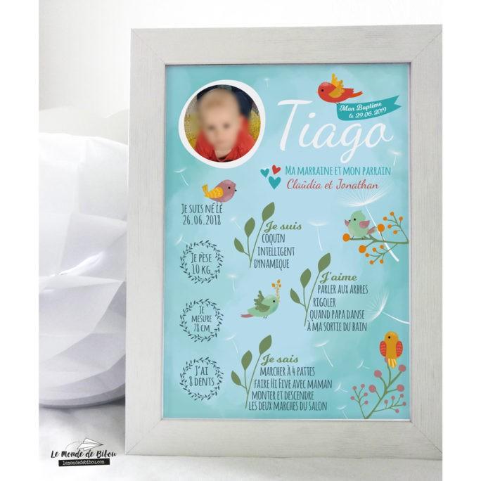 Affiche Baptême Petits oiseaux avec photo