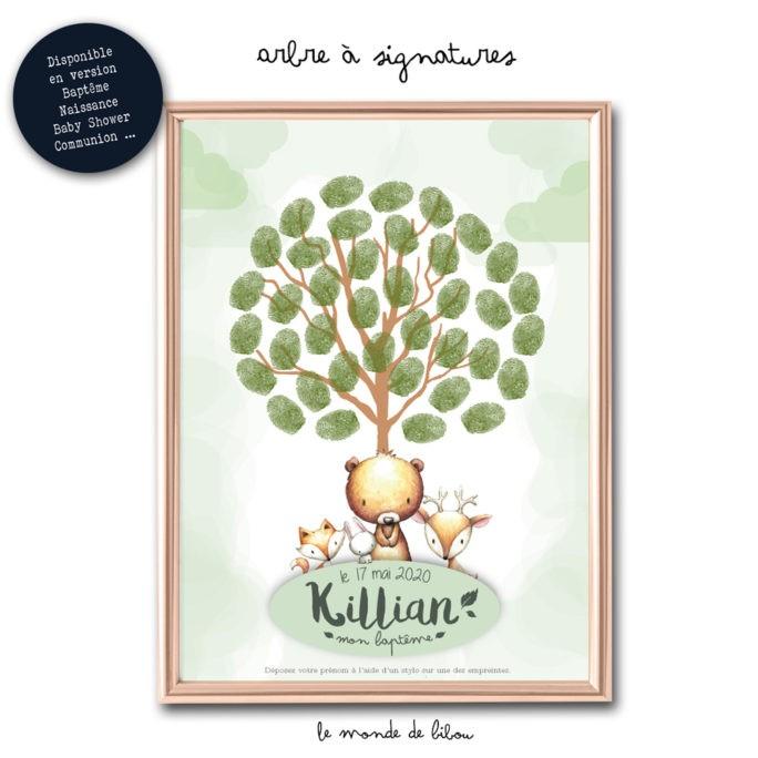 Affiche arbre à signatures Copains des bois