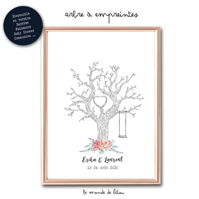 Affiche arbre à empreintes Mariage Fleurs