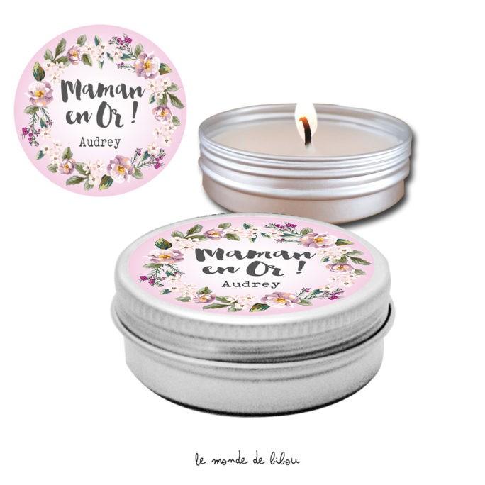 Bougie cadeau pour maman Couronne de fleurs