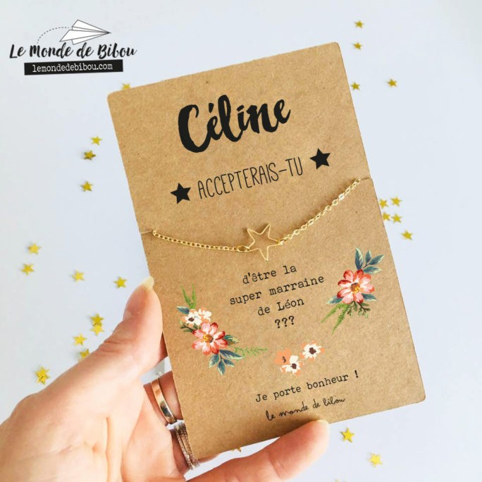 Carte bijou Demande Marraine étoile